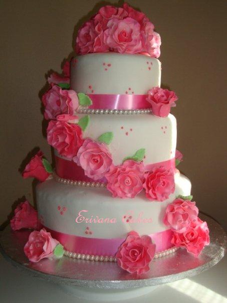 pink and white rose wedding cake photo gallery erivana cakes 18557
