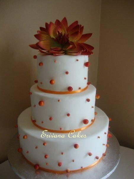 Orange and White Wedding Cake (W030)
