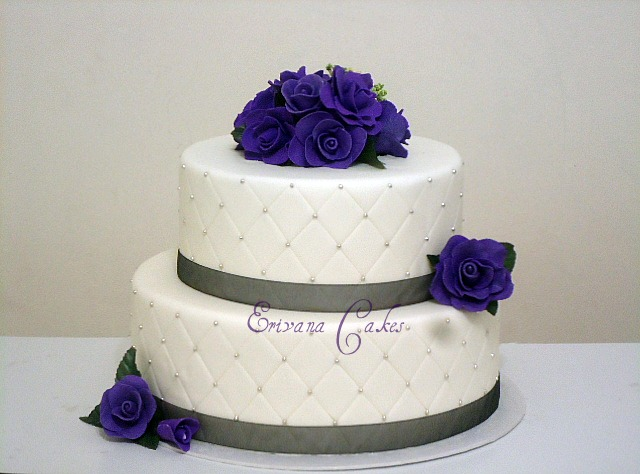 Black White and Purple Wedding Cakes