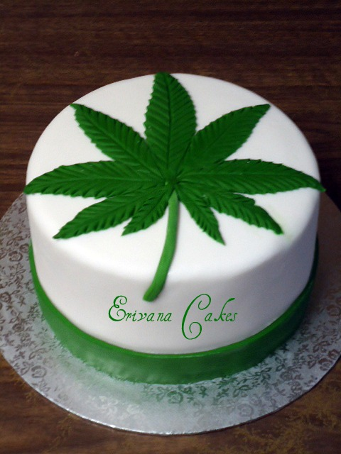 Cannabis Leaf Birthday Cake