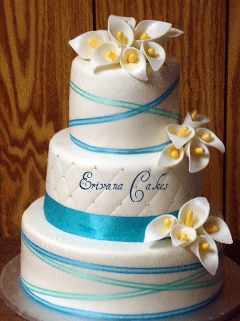 Tiffany Blue Wedding Cake with Calla Lilies (W004)