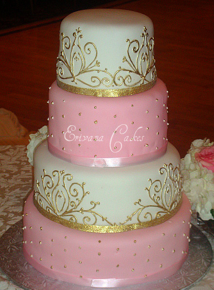 Pink and White Damask Wedding Cake (W015)