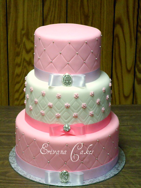 Pink and White wedding Cake 5 (W008)