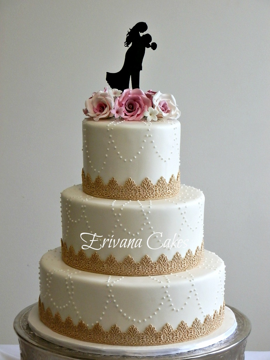 Pink and white wedding cake 5