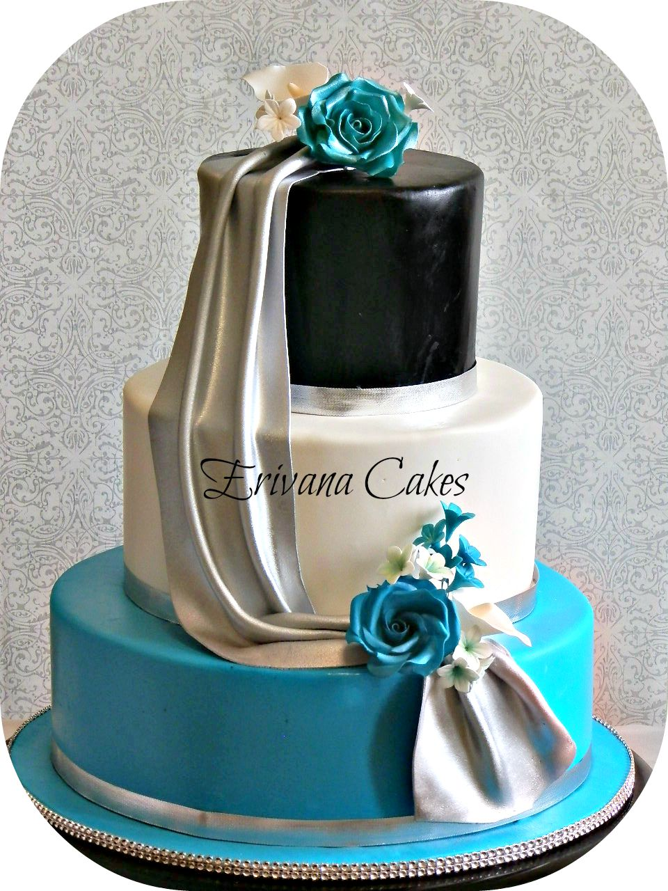 Turquoise, Black, White and Silver wedding Cake