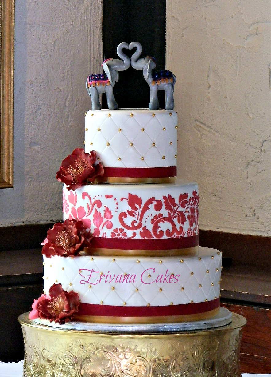 Pink and wine wedding cake