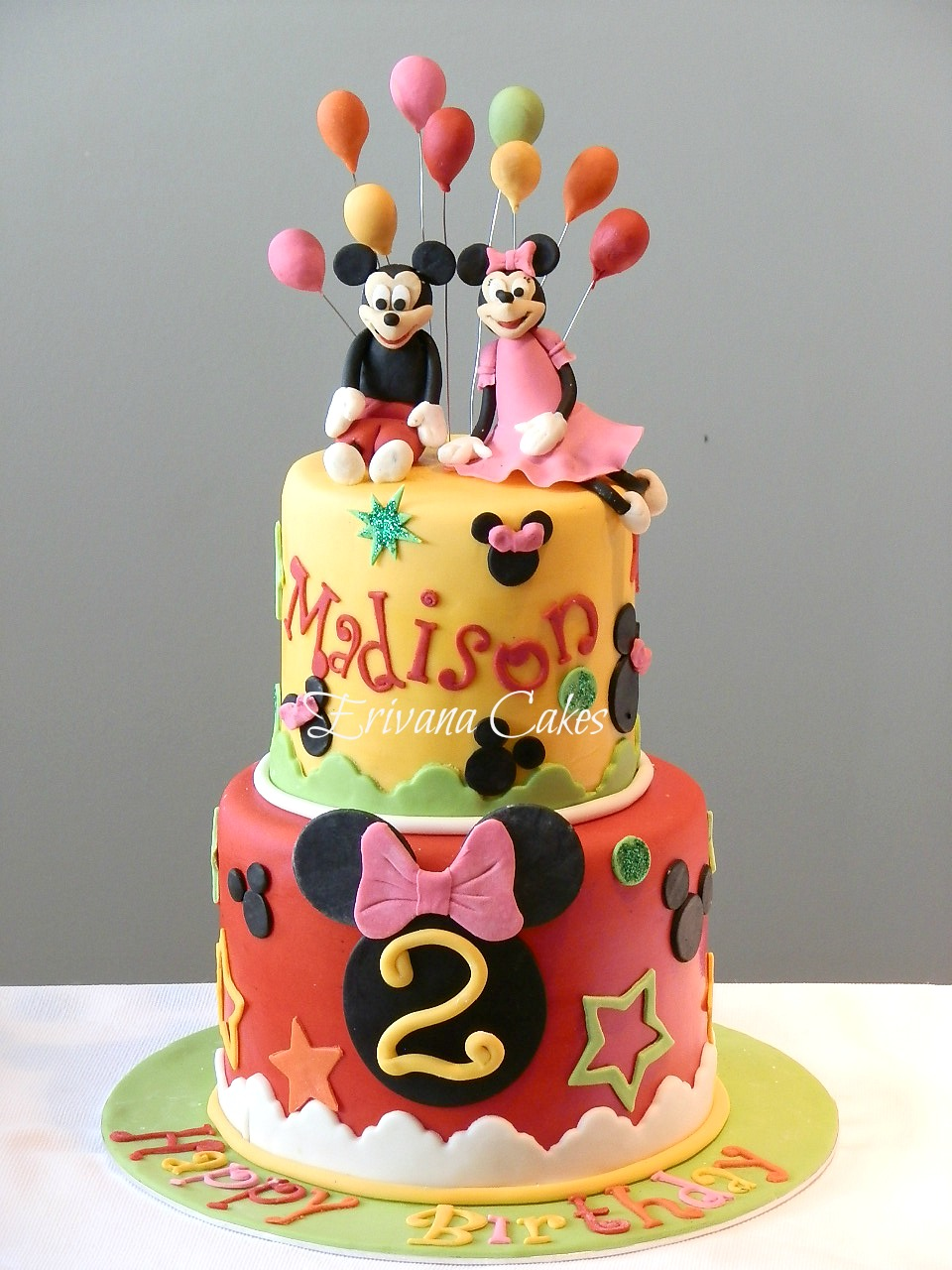 Mickey Mouse and Minnie Mouse cake