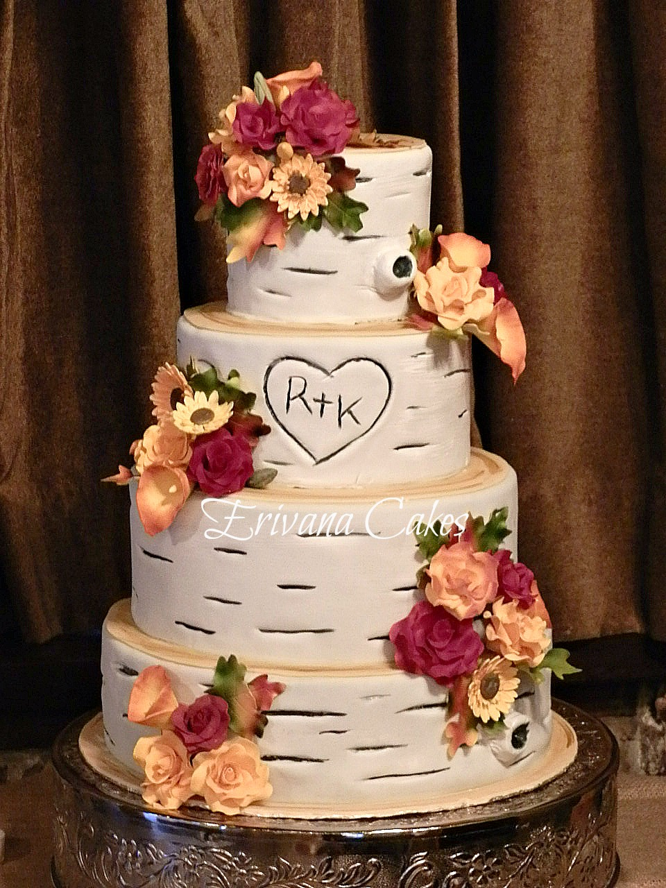 Birch Wood/Fall themed wedding Cake 1
