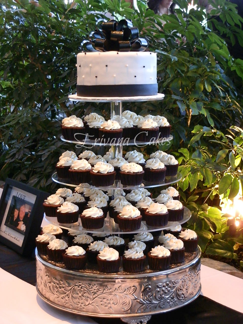 Black And White Wedding Cupcake Tower 3