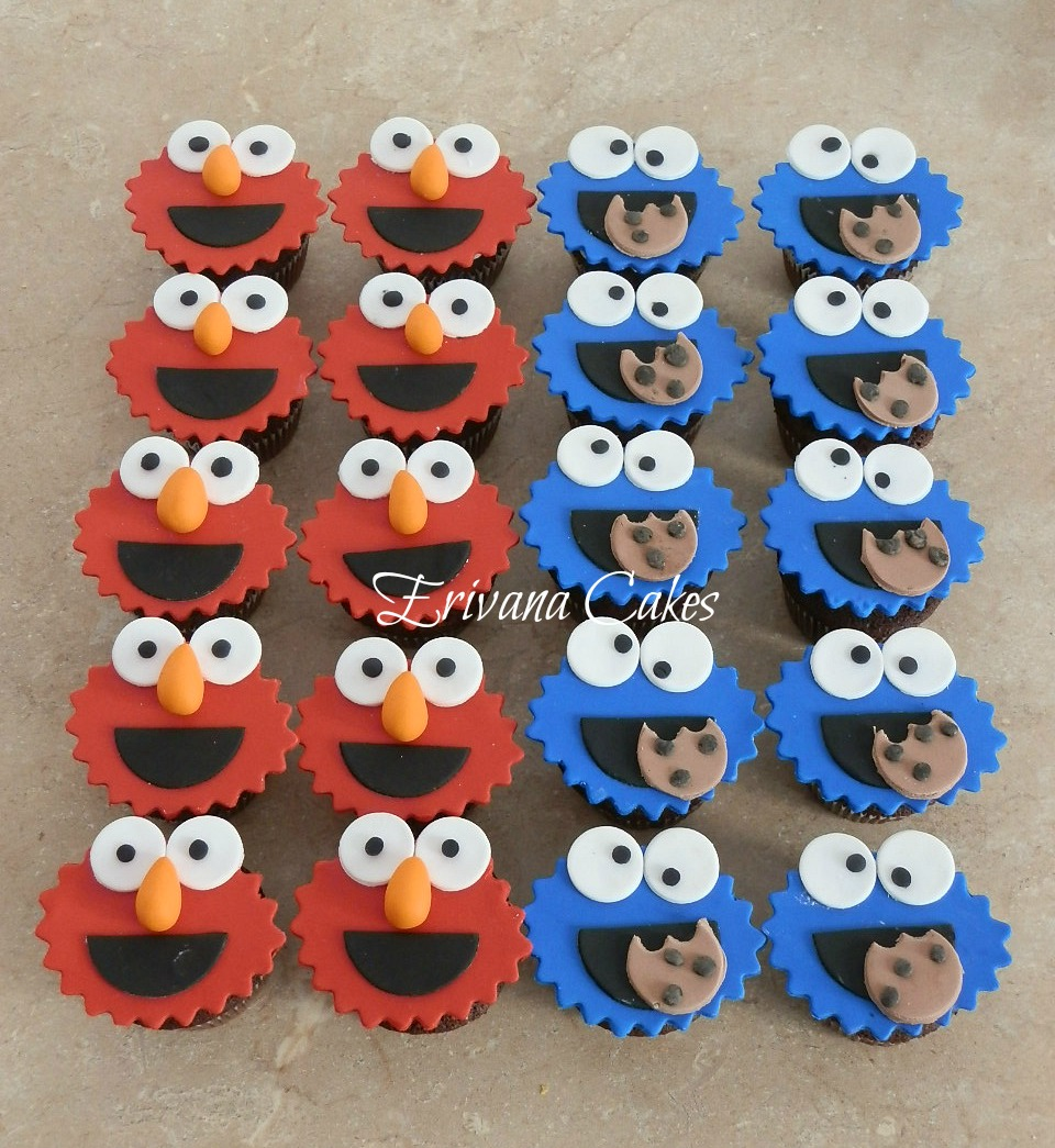 Elmo and cookie monster cupcakes