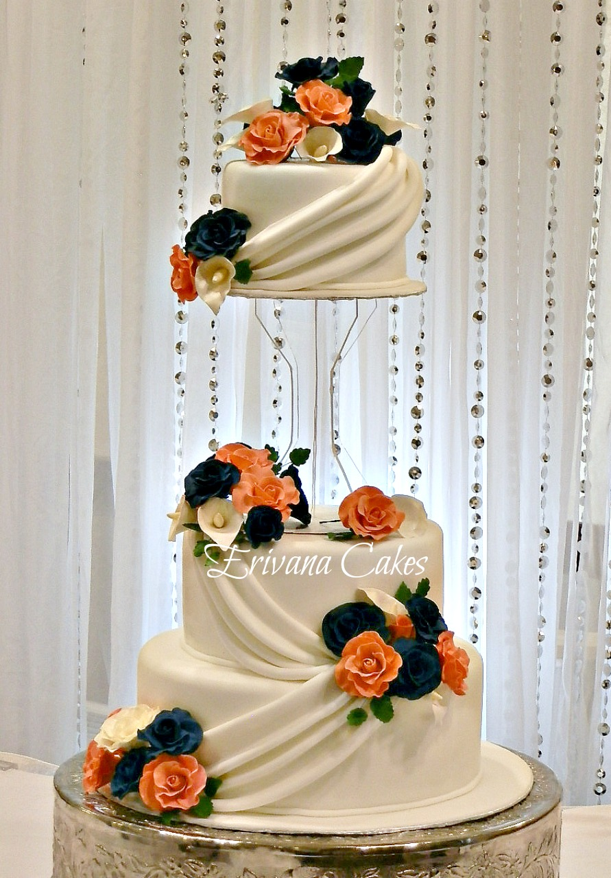 The most beautiful wedding cakes: Pink and navy blue wedding cakes