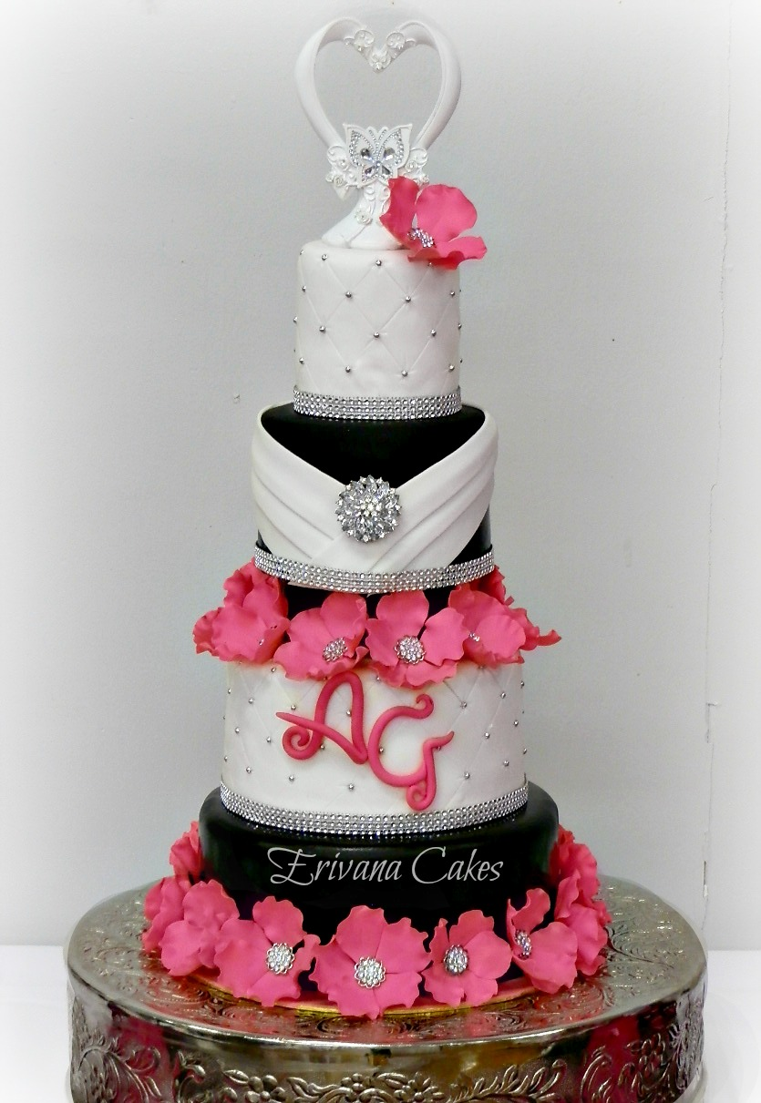 pink black and white wedding cakes with flowers photo gallery erivana cakes 18568