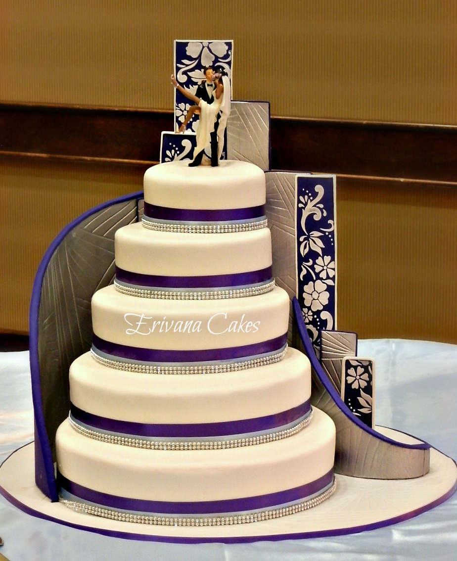 Purple, Blue and white damask wedding cake