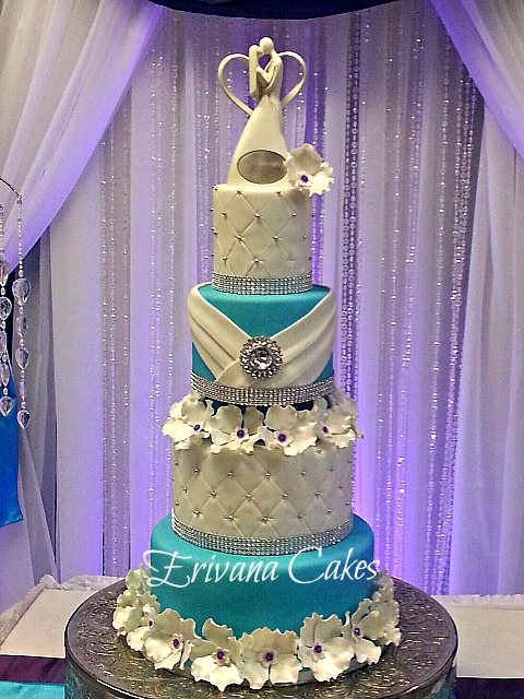 Tiffany blue and purple wedding cake
