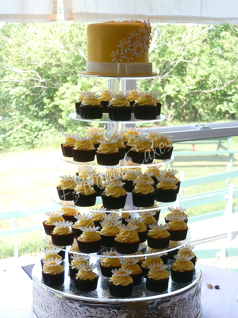 Yellow and white Wedding Cupcake Tower 2